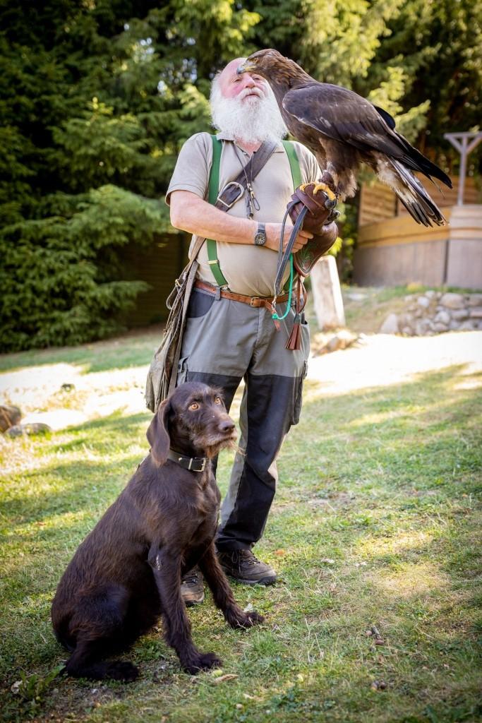 """Lothar Askani mit seinem Deutsch-Drahthaar-Hund """"Vita"""" und einem  Steinadler. Foto: Wildpark/Adrian Fohl"""