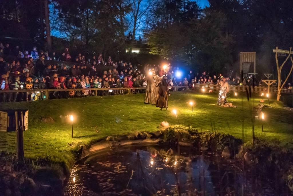 Zum Abschluss des Tages verzaubert ein Feuerkünstler die Besucher mit einer Feuershow. Foto: Wildpark/Thomas Ix