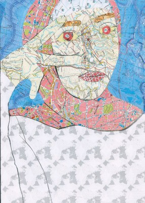 Aleyna Tolip (geb. 2000) The art of map, Collage, 29 x 21 cm, Gymnasium Goetheschule, Hannover