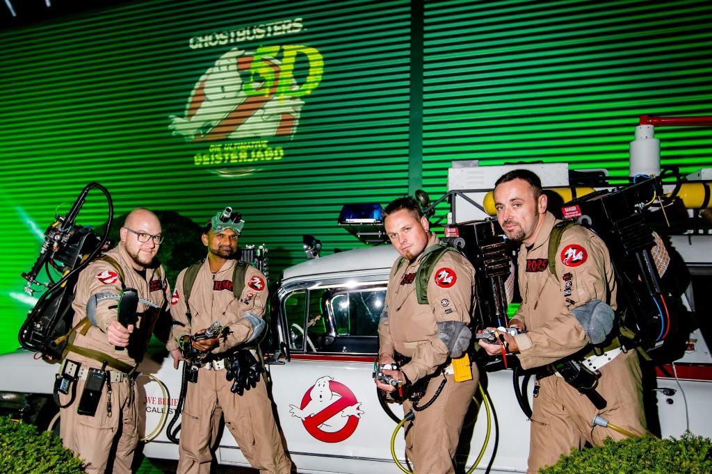 Zum Auftakt der Halloween-Veranstaltungen am 14. Oktober gab das Heide Park Resort mit einem exklusiven Spektakel die neue Attraktion 2017 Ghostbusters 5D bekannt und enthüllte das Logo. Foto: Heide Park Resort, 2016