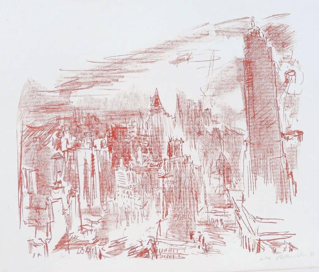Oskar Kokoschka: Manhattan II, 1966, Lithographie © Fondation Oskar Kokoschka / VG Bild-Kunst, Bonn 2020