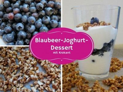 Heidelbeer-Joghurt--Süßspeise mit Krokant