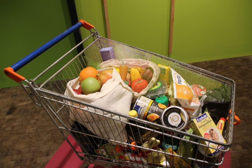 """Einkaufswagen durch Bestäubung erzeugte Lebensmittel in der Ausstellung """"Krabbelnde Komplizen"""" Bild: FLMK"""