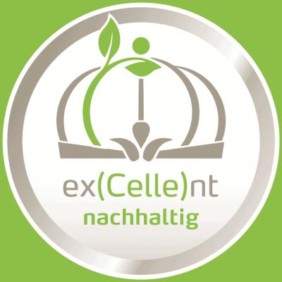 """Das Logo """"ex(Celle)nt nachhaltig"""" dürfen Betriebe führen, die die Anforderungen der nachhaltig zertifizierten Destination Celle in vollem Umfang erfüllen."""