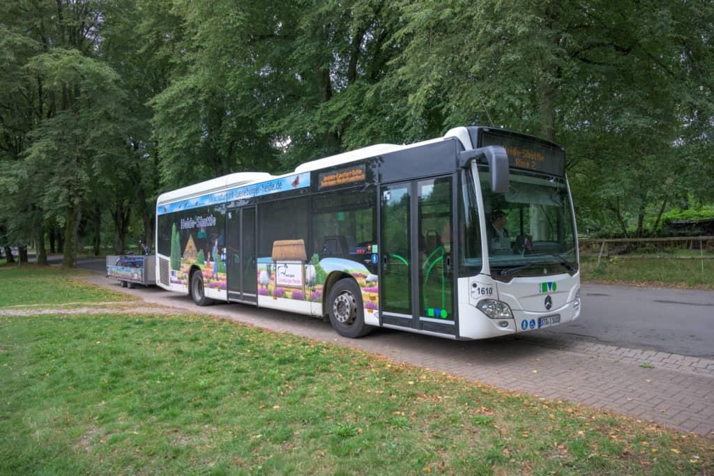 Der kostenlose Freizeitbus Heide-Shuttle ist ein Erfolgsprojekt des Naturparks Lüneburger Heide. Einige Corona-Bestimmungen sind einzuhalten, wenn er dieses Jahr am 15. Juli in seine 15. Saison startet. Foto: Naturpark Lüneburger Heide