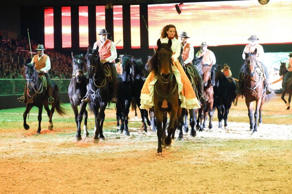 La Bardella Maremmana Die Reitergruppe hat es sich zur Aufgabe gemacht, die vom Aussterben bedrohten Maremma-Pferde zu schützen und stellt bei der Nacht der Pferde die Arbeit mit diesen robusten, nervenstarken und sanftmütigen Tieren vor.  Foto: Fachausstellungen Heckmann