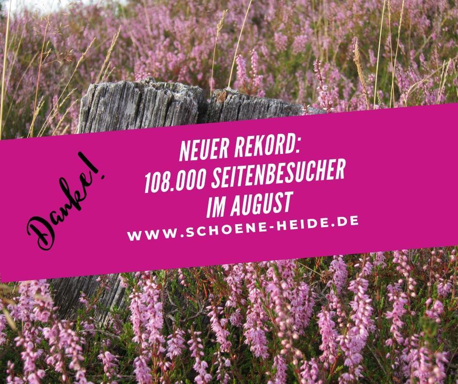 Neuer Rekord: 108.000 Seitenbesucher im August 2019 auf www.schoene-heide.de