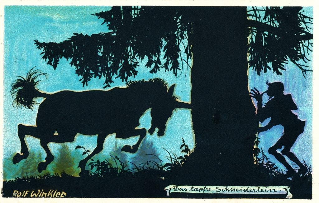 """Postkarte mit der Szene des Einhorn-Fangs aus dem Märchen """"Das tapfere Schneiderlein"""", 1932. Foto: Deutsches Märchen- und Wesersagenmuseum, Bad Oeynhausen"""