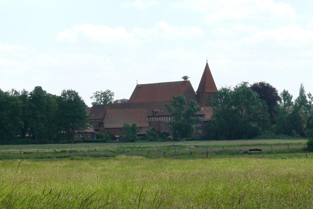 Beim Heraustreten aus den Wald eröffnet sich der Blick auf das Kloster Ebstorf. Foto: Petra Reinken/Wortwolf