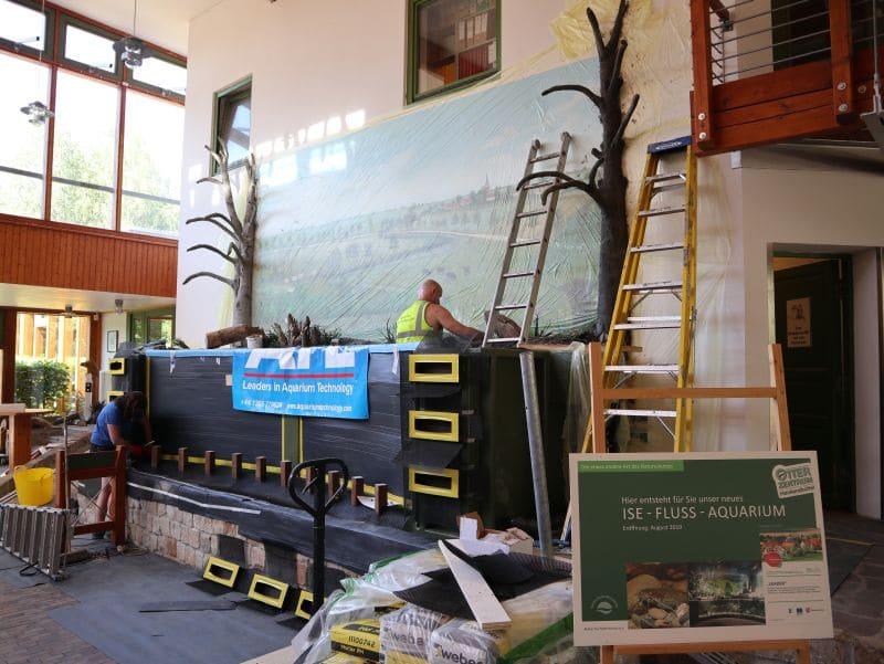 Ein Team aus Großbritannien hat im OTTER-ZENTRUM das Aquarium aufgebaut. © Aktion Fischotterschutz e.V.