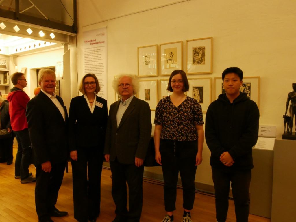Von links: Udo Heitmann, Dr. Gudula Mayr, Joseph Hierling, Lena Marie Hildebrandt, Yibiao Meng © Kunststätte Bossard
