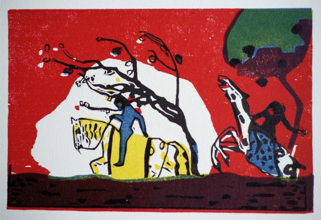 Wassily Kandinsky: Zwei Reiter in Rot, 1911 © Sammlung Joseph Hierling