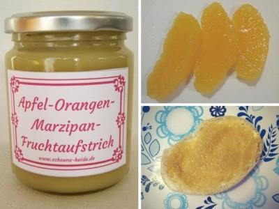 Selbstgekochte Marmelade mit Äpfeln, Orangen und Marzipanrohmasse