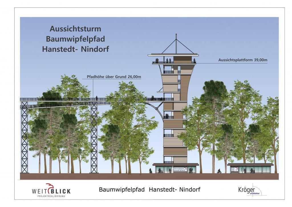 Der Aussichtsturm und der Baumwipfelpfad werden in die Landschaft und den bestehenden Baumbestand am Wildpark integriert.