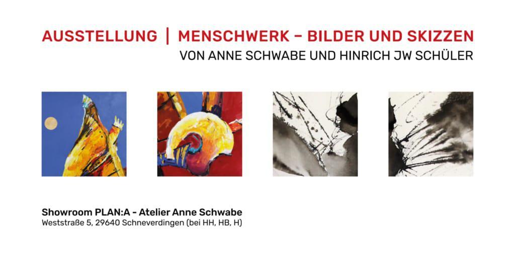 "Deckblatt Flyer zur Ausstellung ""MenschWERK"" Plan:A Schneverdingen 2019"