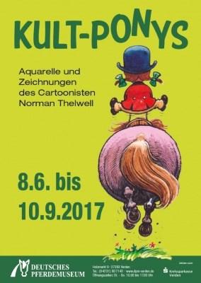 """Plakat zur Ausstellung """"Kult-Ponys"""" mit Werken von Norman Thelwell im Deutschen Pferdemuseum in Verden vom 08.06. - 10.09.2017"""
