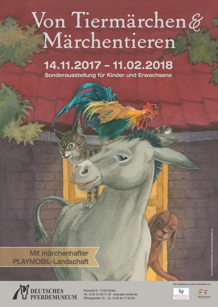 Ausstellungsplakat mit dem Titelmotiv der Bremer Stadtmusikanten des Kinderbuchillustrators Bernhard Oberdieck.
