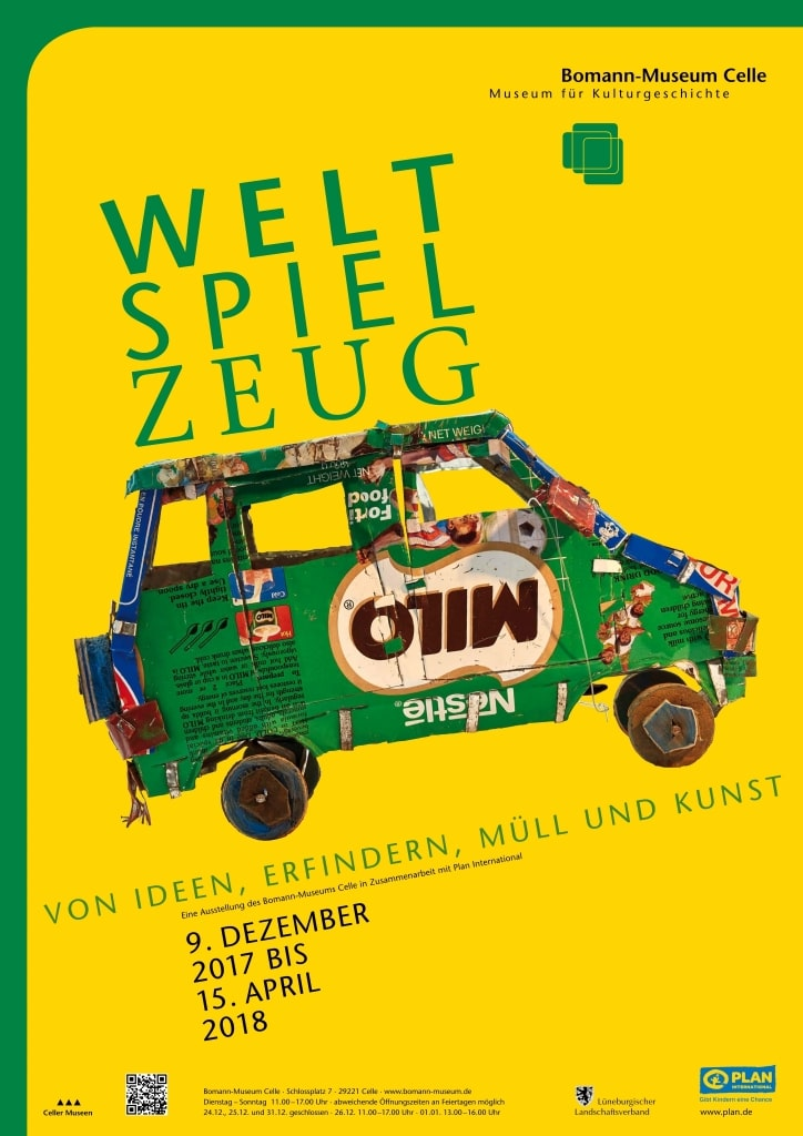 """Plakat der Ausstellung """"WeltSpielZeug"""" im Bomann-Museum in Celle vom 09.12.2017 - 15.04.2018"""
