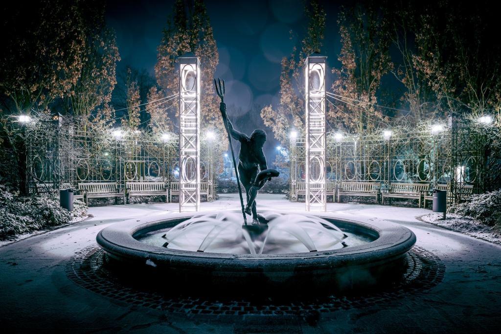 Bad Bevensen: Neptunbrunnen im Winter Foto: Martiem Fotografie