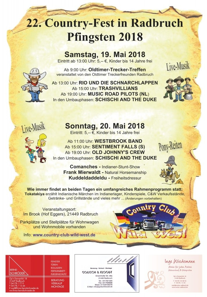 Plakat Country Fest Radbruch 2018