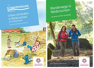 """Die neuen Urlaubskarten """"KinderFerienLand"""" und """"Wanderwege"""" bieten Reisetipps für Niedersachsen auf einen Blick., © TourismusMarketing Niedersachsen GmbH"""