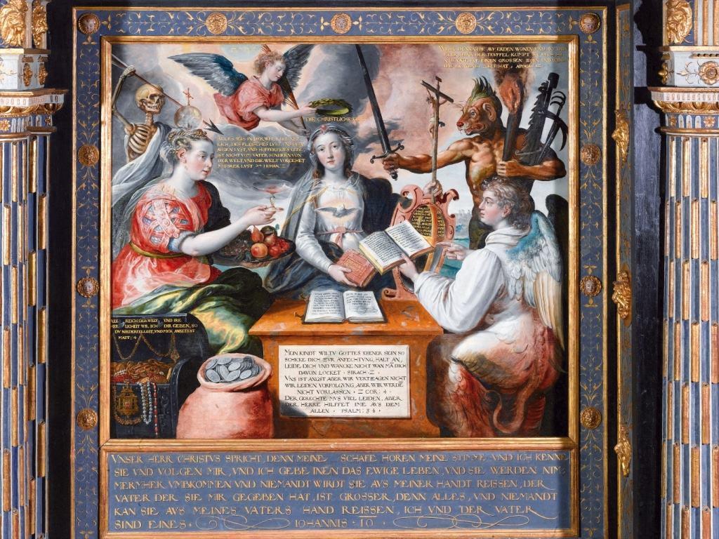 Die Versuchung der christlichen Kirche (Stuhl VIII) Gemälde in der Celler Schlosskapelle Residenzmuseum im Celler Schloss, Foto: Fotostudio Loeper, Celle