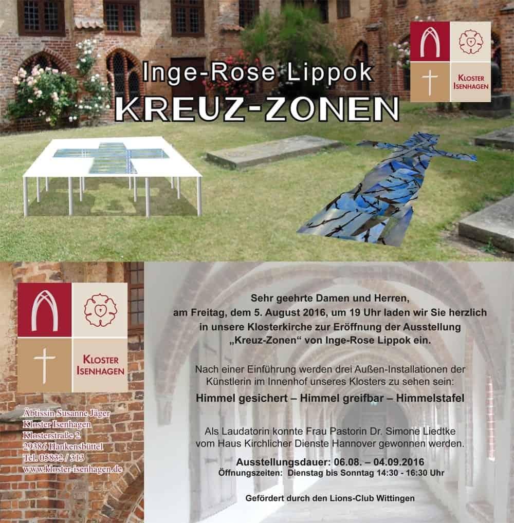 Einladungskarte zur Ausstellung Kreuz-Zonen im Kloster Isenhagen 2016
