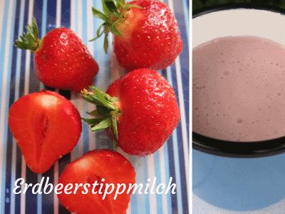 Quark-Kaltschale mit Erdbeeren und Milch