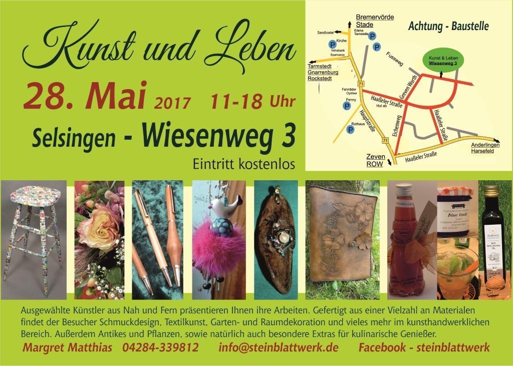 """Rückseite des Flyers für den Kunsthandwerkermarkt """"Kusnt und Leben"""" in Selsingen am 28.05.2017 mit Anfahrtskizze"""