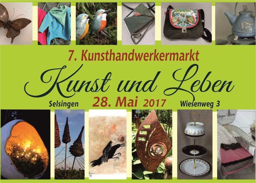 Vorderseite Werbeflyer Kunst und Leben 2017 am 28.05.2017 bei Steinblattwerk in Selsingen