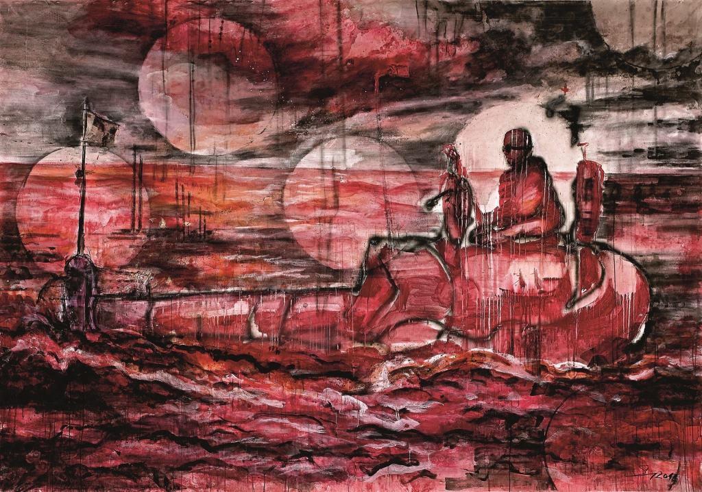 Frank Schult  Flaschenpost, 2012  Öl auf Leinwand  200 x 300 cm  Foto: Eike Knopf