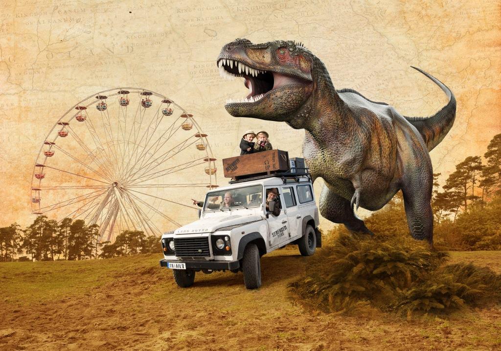 """In der """"Jurassic Safari"""" sind gigantische Begegnungen mit zum Teil lebensgroßen und bewegten Dinosauriern garantiert. Grafik: Serengeti-Park Hodenhagen"""