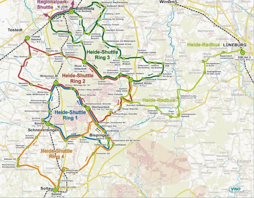 Übersichtskarte Heide-Shuttle und Heide-Radbus 2017