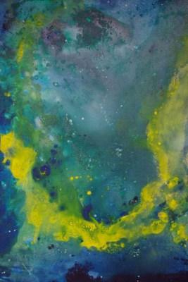 """Gemälde von Sita Hamann aus der Ausstellung """"Kosmische Impressionen"""" im Kloster Ebstorf"""