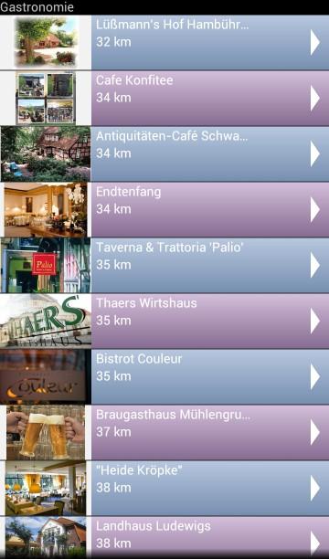 Übersicht Restaurants, Cafés usw. in der Lüneburger-Heide-App