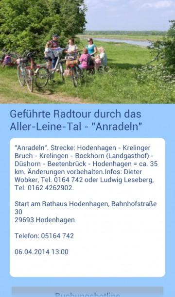 Darstellung von Veranstaltungen in der Lüneburger-Heide-App