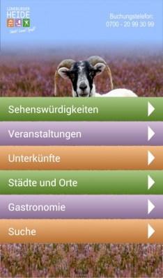 Startseite der Lüneburger-Heide-App