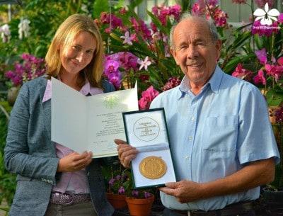 Marie Karge-Liphard und Joachim Karge, Orchideengarten Karge aus Dahlenburg mit ihrem Staatsehrenpreis 2015