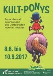 """Ausstellungplakat der Ausstellung """"Kult-Ponys"""" mit Werken von Norman Thelwell vom 08.06. - 10.09.2017 im DPM in Verden"""