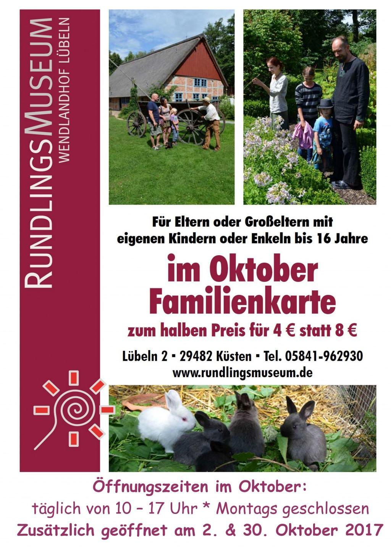 Plakat Familienkarte im Oktober