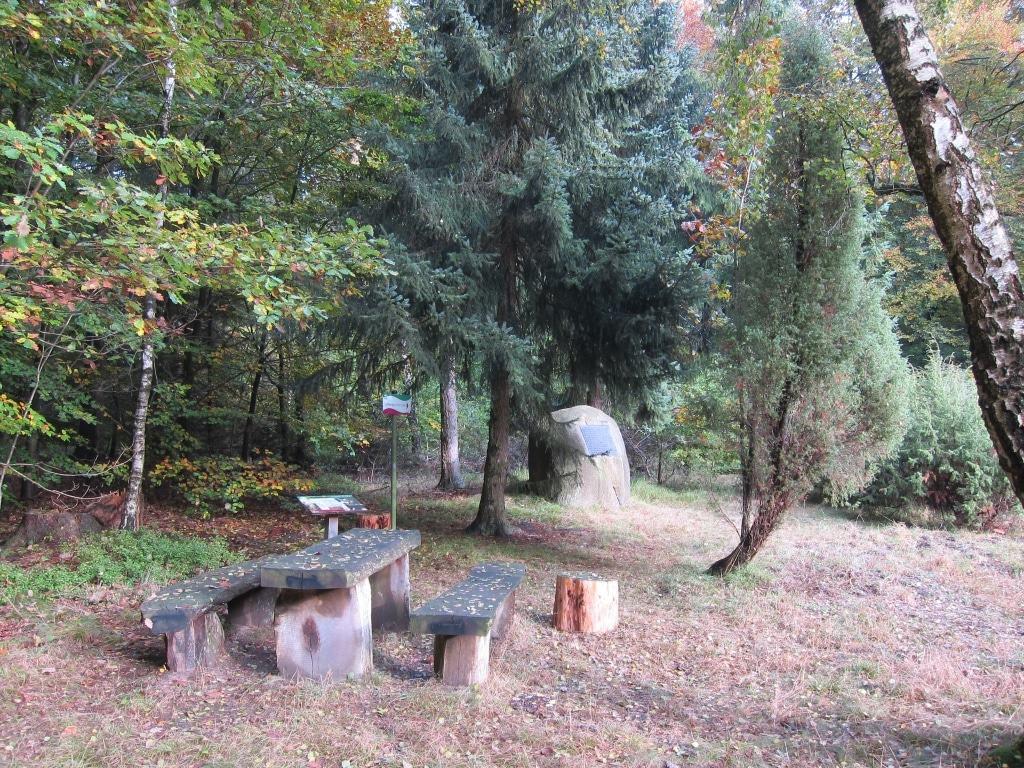 Rastplatz mit Bank und Tisch und Gedenkstein am Lüßberg (130 m)