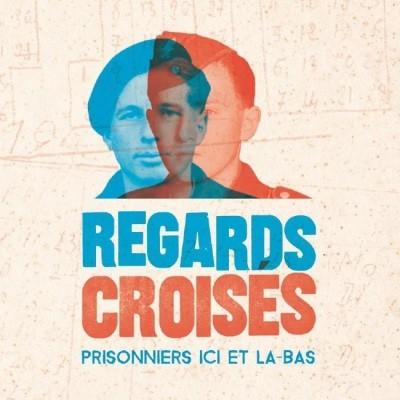 """Logo der deutsch-französischen Sonderausstellung """"Regards croisés. – Prisonniers ici et là-bas"""" (Perspektivwechsel – Gefangene hier, Gefangene dort) in der Gedenkstätte Lager Sandbostel"""