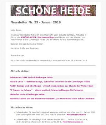 Screenshot des SCHÖNE-HEIDE-Newsletters Nr. 25 -  Januar 2016