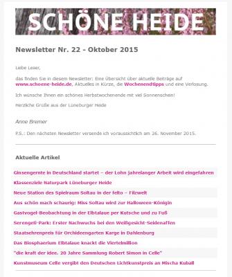 Newsletter von www.schoene-heide.de - Ausgabe Oktober 2015 Nr. 22