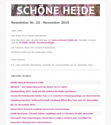 SCHÖNE-HEIDE-Newsletter Nr. 23 - November 2015