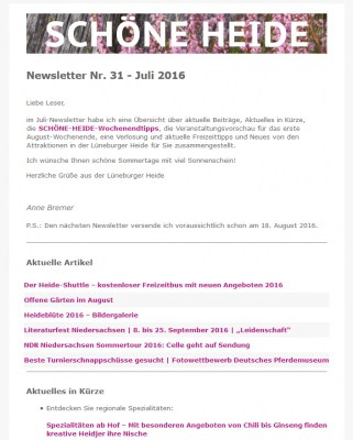 Screenshot SCHÖNE-HEIDE-Newsletter Nr. 31 - Juli 2016