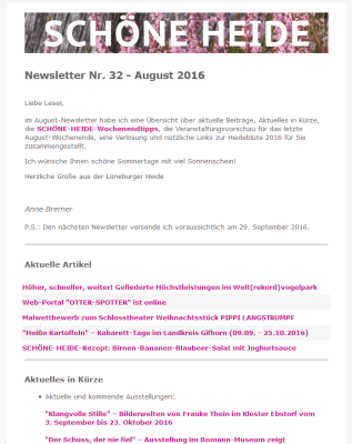 SCHÖNE-HEIDE-Newsletter 32 August 2016 - Screenshot