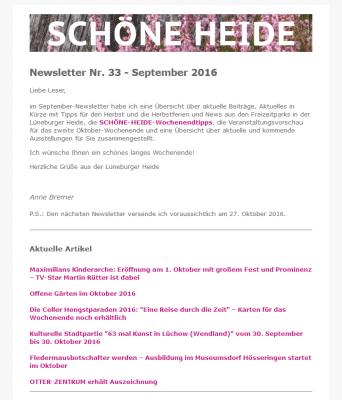 Screenshot SCHÖNE-HEIDE-Newsletter Nr. 33 -  September 2016