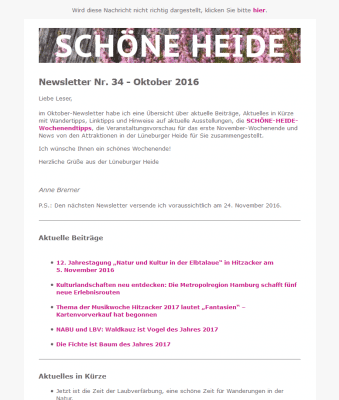 Screenshot SCHÖNE-HEIDE-Newsletter Nr. 34 - Oktober 2016