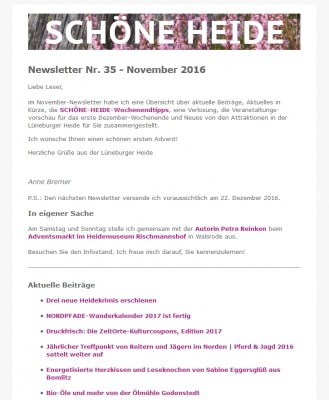 Screenshot SCHÖNE-HEIDE-Newsletter Nr. 35 November 2016